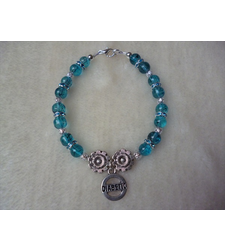 Turquoise Blue Drawbench Diabetic Charm Bracelet