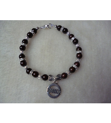 Brown Silver Shimmer Beaded Diabetic Charm Bracelet