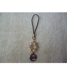 Cream Pearl Silver Mobile Phone Charm