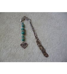 Silver Blue Heart Mum Charm Bookmark