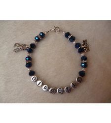 Midnight Blue Hope Awareness Ribbon Diabetic Charm Bracelet
