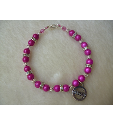 Hot Pink Silver Shimmer Beaded Diabetic Charm Bracelet