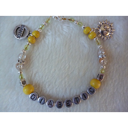 Yellow Silver Beaded Sun Diabetic Charm Bracelet
